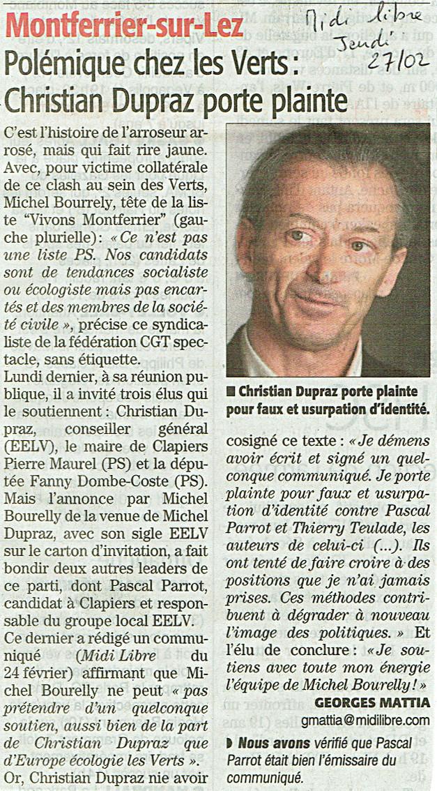 Communique de presse de C Dupraz - Midi Libre - 27 février 2014