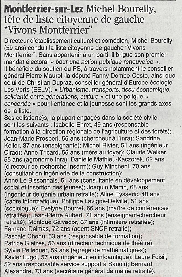 Présentation de la liste Vivons Montferrier sur le Midi Libre du 28 février